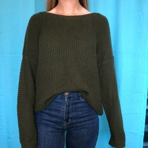 Army Green Sweater with Open Back